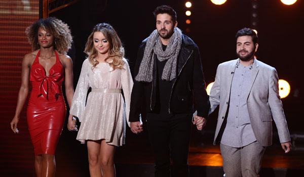 Semi-finalists Fleur, Lauren, Ben and Andrea seemed tense [ITV/Syco]